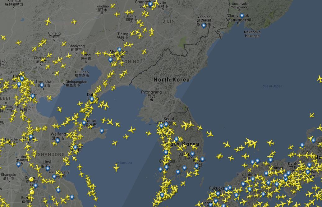 Небо над Северной Кореей прямо сейчас