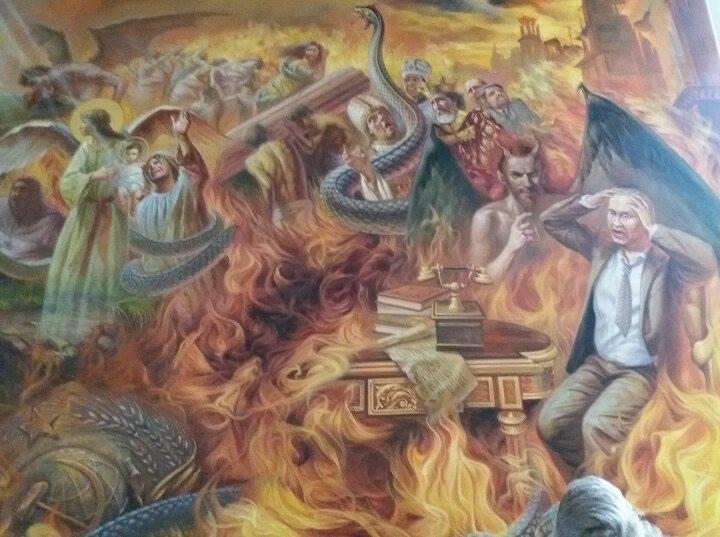 В украинских церквях лик Путина начали изображать на стенах