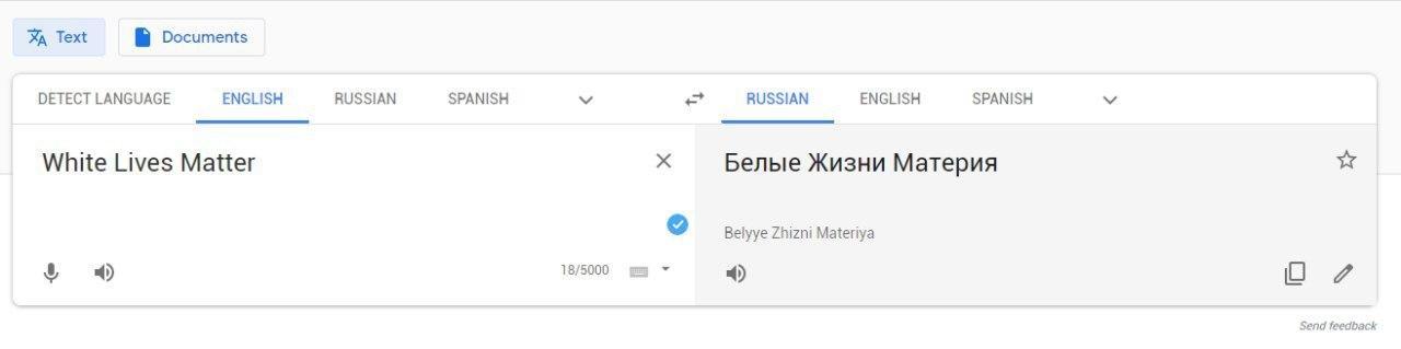 Почему Гугл и Яндекс по разному переводят White Lives Matter