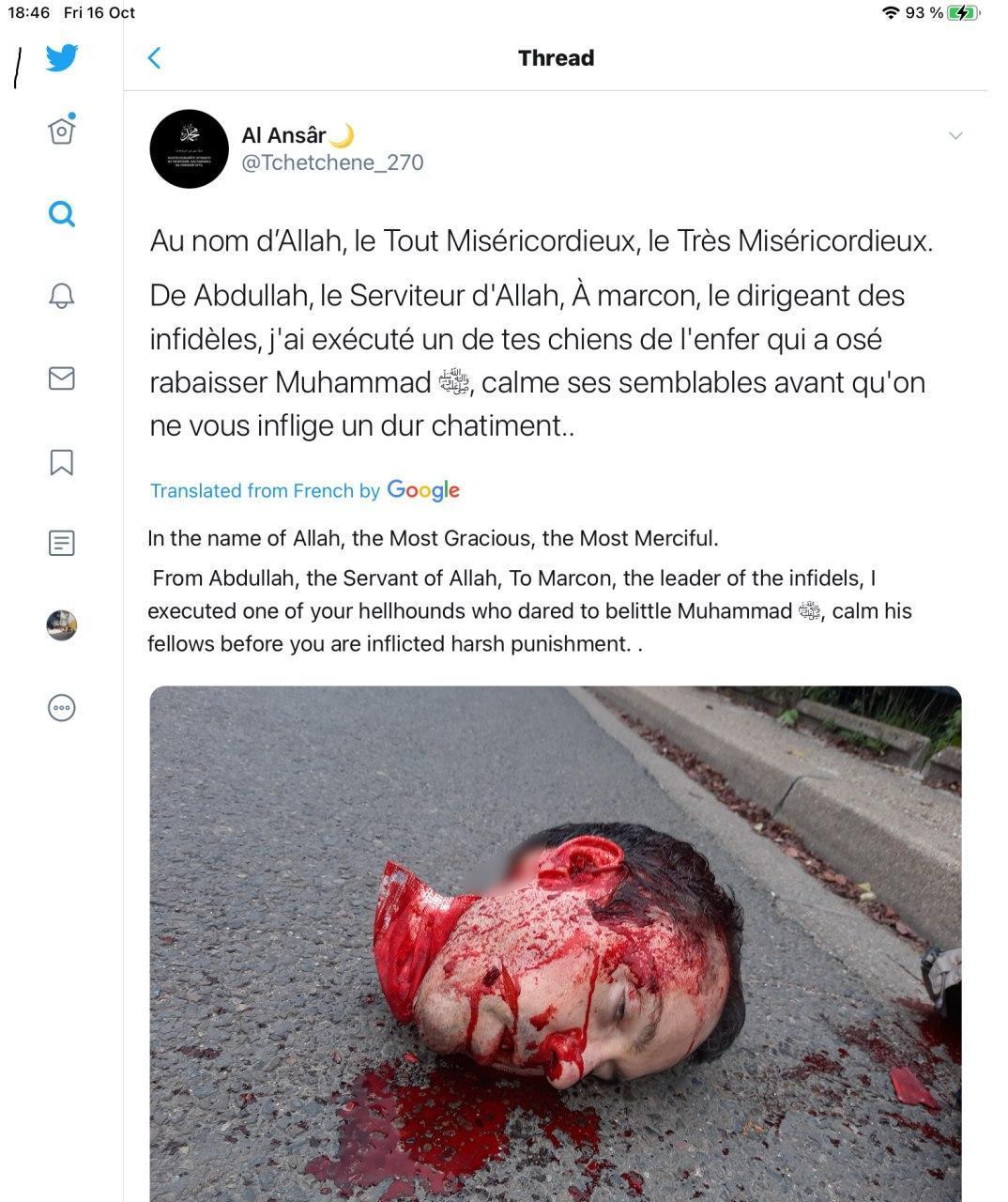 Чеченец отрезал голову французскому учителю