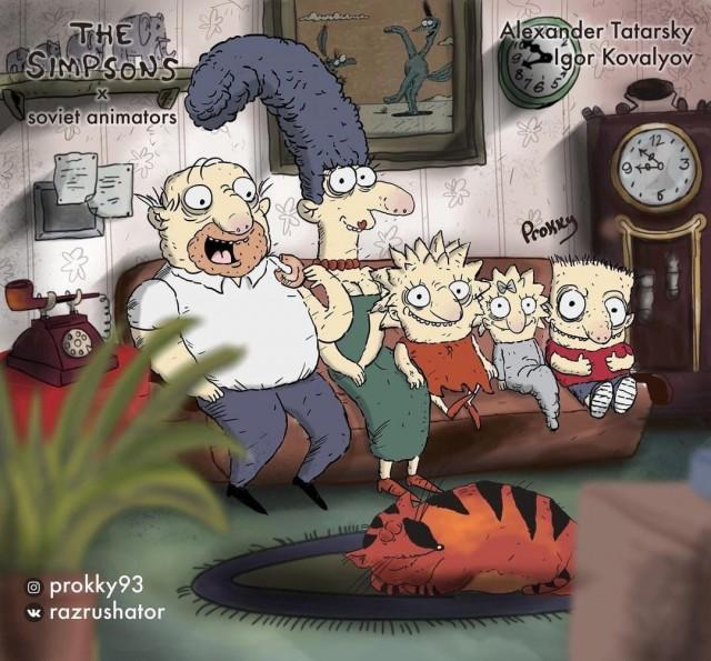 Заставка Симпсонов в исполнении советских мультипликаторов