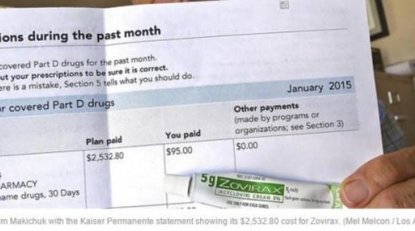 В Канаде 5 г тюбик противогерпесного крема Зовиракс обошелся ему в <b>$34.65</b> (без какой-либо страховки вообще), а в Kaiser Permanente, аптеке Лос-Анжелеса ему пришлось заплатить уже <b>$95</b> при полной стоимости препарата для страховой компании в размере - ОГО! - <b>$2532.80</b>.
