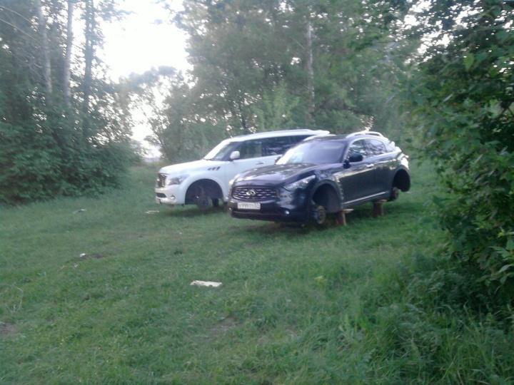сняли колеса в лесу